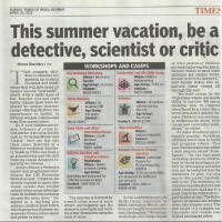 Summer training on Forensics and C.S.I provided by Indian forensic organistaion in cobination with IFSR P. LTD. at mumbai for age group 9 to 14: specially covered by Times of India